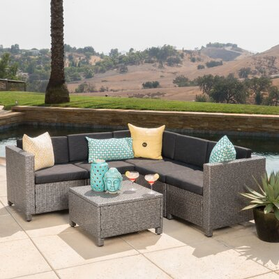 Chia 6 Piece Sectional with Cushion Finish: Grey/Black