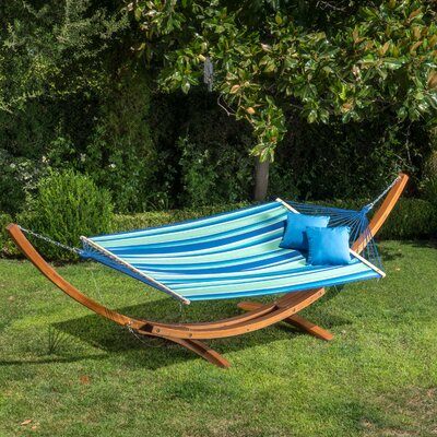 Ava Canvas Hammock with Stand Color: Blue/Yellow/Green Stripe