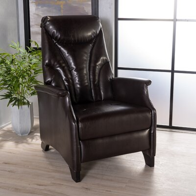 Johnson Leather Recliner Finish: Brown