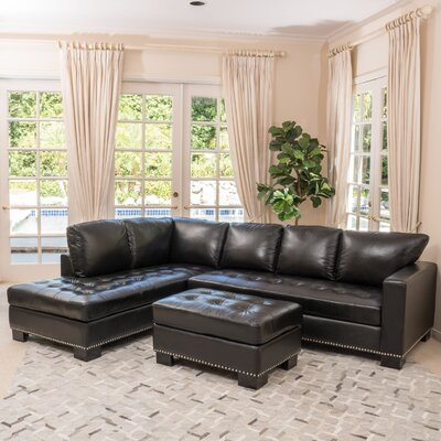 Gains Leather Sectional Upholstery: Black