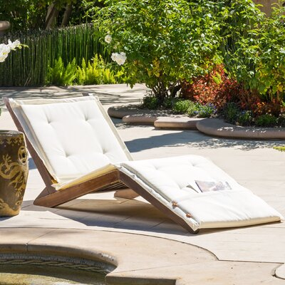 Granville Chaise Lounge with Cushion Fabric: Ivory