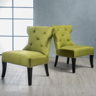 Harvey Slipper Chair Upholstery: Apple - Green