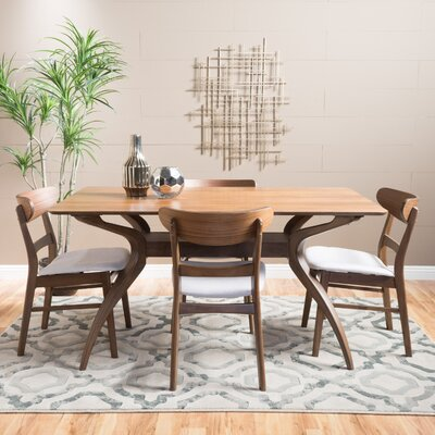 Canning 5 Piece Dining Set Table Finish: Natural Walnut, Chair Finish: Light Beige