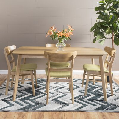Yolanda 5 Piece Dining Set Table Finish: Natural Oak, Chair Finish: Light Beige