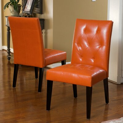 Reseda Tufted Dining Chair Upholstery: Bonded Leather-Orange