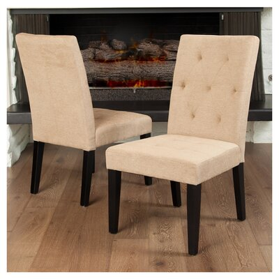 Reseda Tufted Dining Chair Upholstery: Linen-Cream