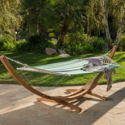 Ava Canvas Hammock with Stand Color: Blue Green Stripe