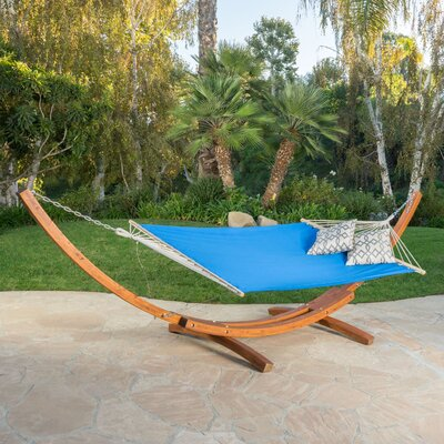Kouklia Canvas Hammock with Stand Color: Light Blue