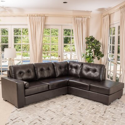 Marcus Leather Sectional Upholstery: Dark Brown