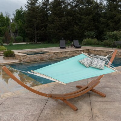 Kouklia Canvas Hammock with Stand Color: Aqua Blue