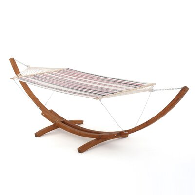 Ava Hammock with Base Color: White Dark Blue and Red Stripe