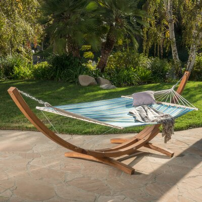 Ava Canvas Hammock with Stand Color: Blue/Yellow Stripe