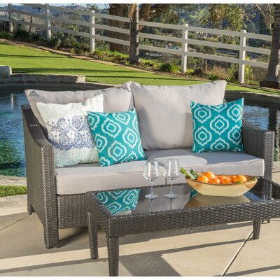 Dragoon 2 Piece Outdoor Loveseat & Table Finish: Gray