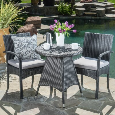 Peterson 3 Piece Bistro Set Finish: Gray