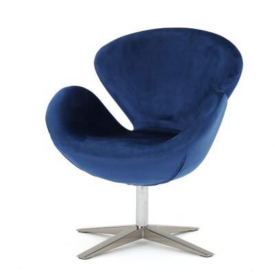 Broaddus Swivel Armchair Upholstery: Navy Blue