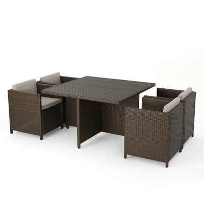 Cronius Outdoor Wicker 5 Piece Dining Set with Cushions Finish: Brown