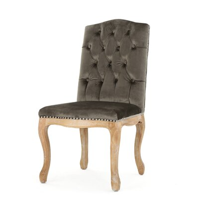 Paulk New Velvet Dining Side Chair Upholstery: Gray