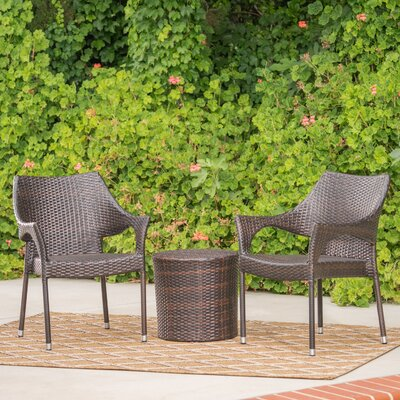 Brixey Outdoor Wicker 3 Piece Lounge Seating Group