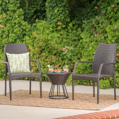 Worton Outdoor Wicker 3 Piece Lounge Seating Group