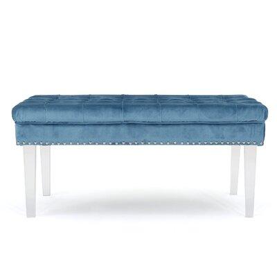 Rowlett New Velvet Ottoman Upholstery: Aqua