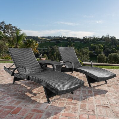 Berne Outdoor Wicker 3 Piece Recliner Seating Group