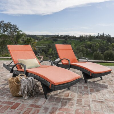 Acad Outdoor Wicker Arm Chaise Lounge Fabric: Caramel