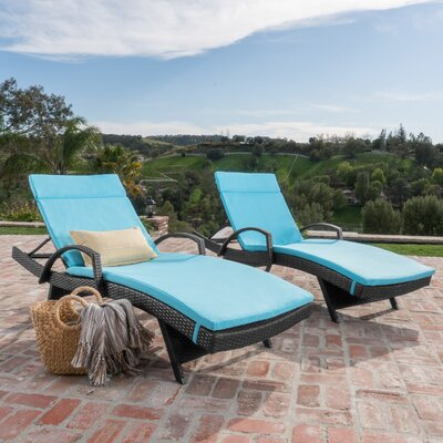 Acad Outdoor Wicker Arm Chaise Lounge Fabric: Blue