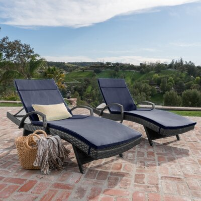Acad Outdoor Wicker Arm Chaise Lounge Fabric: Navy Blue