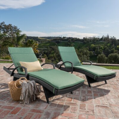 Acad Outdoor Wicker Arm Chaise Lounge Fabric: Green
