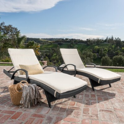 Acad Outdoor Wicker Arm Chaise Lounge Fabric: Beige