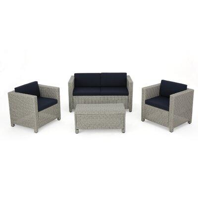 Cronius 4 Piece Deep Seating Set with Cushion Cushion Color: Navy Blue