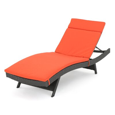 Outdoor Chaise Lounge Cushion Color: Orange