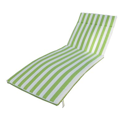 Outdoor Chaise Lounge Cushion Color: Green/White