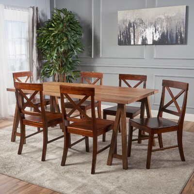 Williamsville Farmhouse 7 Piece Dining Set Finish: Walnut/Mahogany