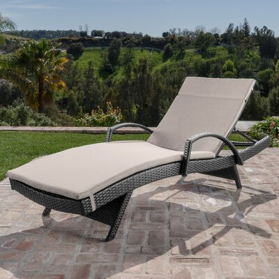 Berne Outdoor Wicker Armed Chaise Lounge with Cushion Finish: Textured Beige