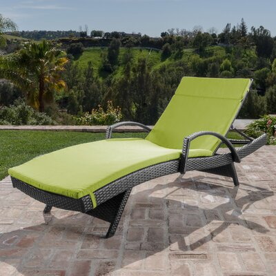 Berne Outdoor Wicker Armed Chaise Lounge with Cushion Finish: Green
