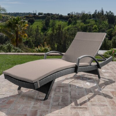 Berne Outdoor Wicker Armed Chaise Lounge with Cushion Finish: Charcoal