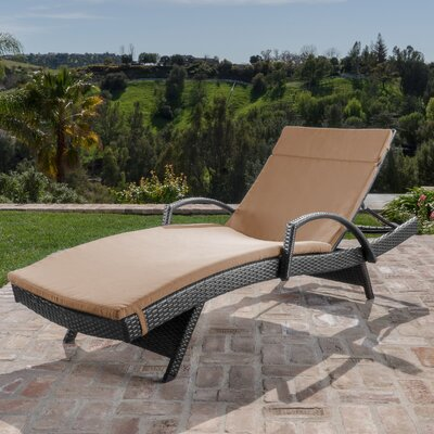 Berne Outdoor Wicker Armed Chaise Lounge with Cushion Finish: Carmel