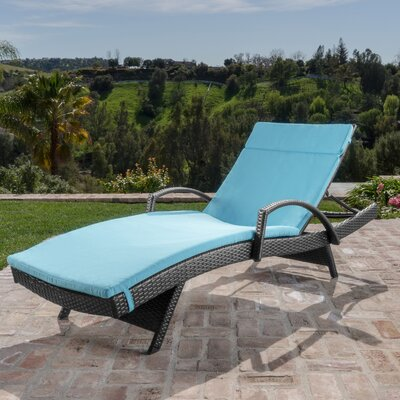 Berne Outdoor Wicker Armed Chaise Lounge with Cushion Finish: Blue