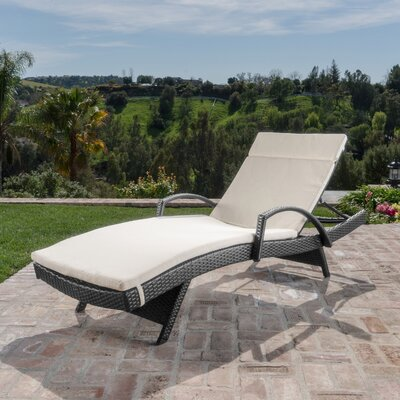 Berne Outdoor Wicker Armed Chaise Lounge with Cushion Finish: Beige