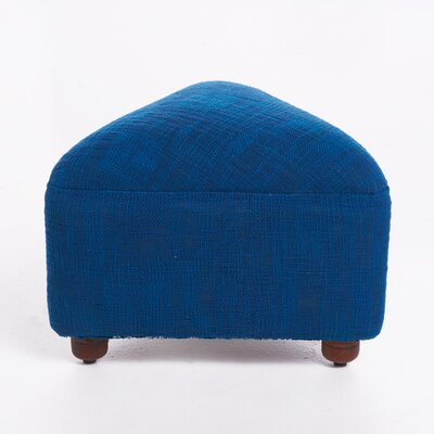 Lisse Ottoman with Wood Frame Upholstery: Blue