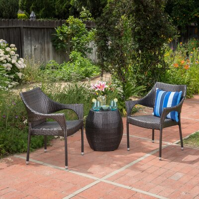 Eastford Outdoor Rattan 3 Piece Conversation Set