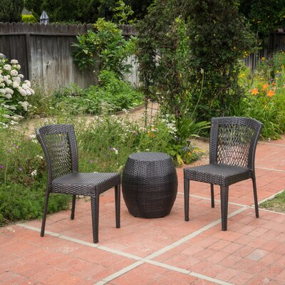 Tracie Outdoor Rattan 3 Piece Conversation Set