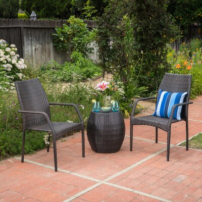 Tyris Outdoor Rattan 3 Piece Conversation Set