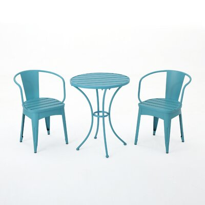 Reva Outdoor 3 Piece Iron Bistro Set Color: Matte Blue