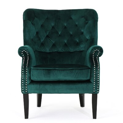 Anamaria New Velvet Wingback Chair Color: Teal