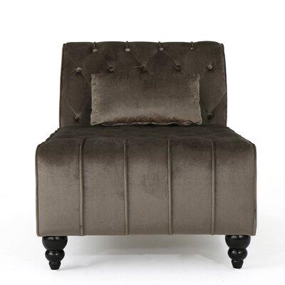 Andrews New Velvet Chaise Lounge Color: Gray