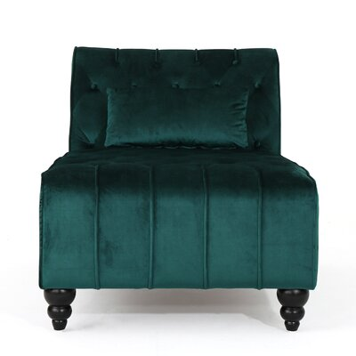 Andrews New Velvet Chaise Lounge Color: Teal