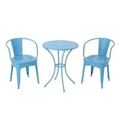 Springmont Outdoor 3 Piece Bistro Set Color: Matte Blue