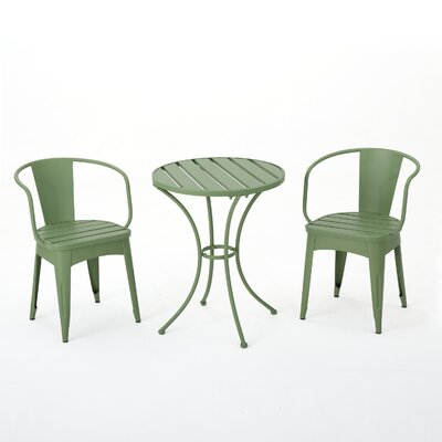 Reva Outdoor 3 Piece Iron Bistro Set Color: Green